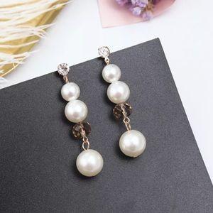 Long Faux Pearl Earrings